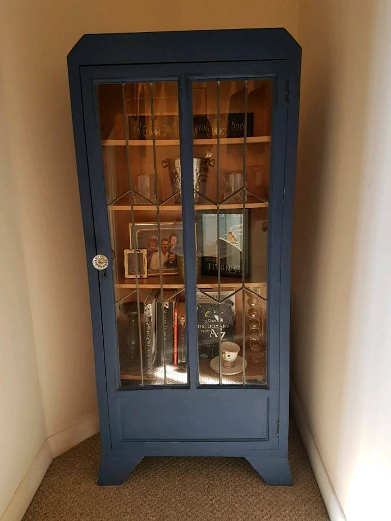 Vintage Upcycled Art Deco Style Display Cabinet In Worthing West