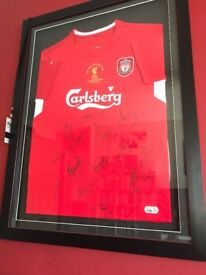 Liverpool F.C. Framed Signed 2005 Champions League Final Shirt