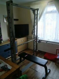 nearly new smith machine with weight bench