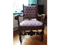 Beautiful Antique Carved oak Green Man Carver chair with needlepoint upholstery