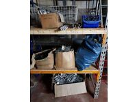 JOBLOT SHOPFLOOR FITTINGS PEGS FOR PEG BOARDS TWIN TRACK RAILS AND BLUE STORAGE BIN BASKET
