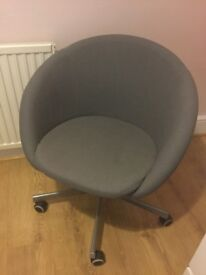 IKEA GREY COMPUTER TUBE CHAIR ON CASTERS.