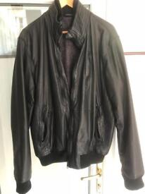 Ted Baker Black Mens Leather Jacket size 6 (large)