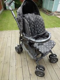 Mamas & Papas Pliko Pramette Polka Dot, Footmuff, Apron, Sunshade, Rain cover inc. Good cond.