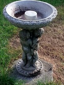 Cherub stone bird bath