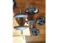 Dumbbells set - 2 bars and weights combined total of 40kg