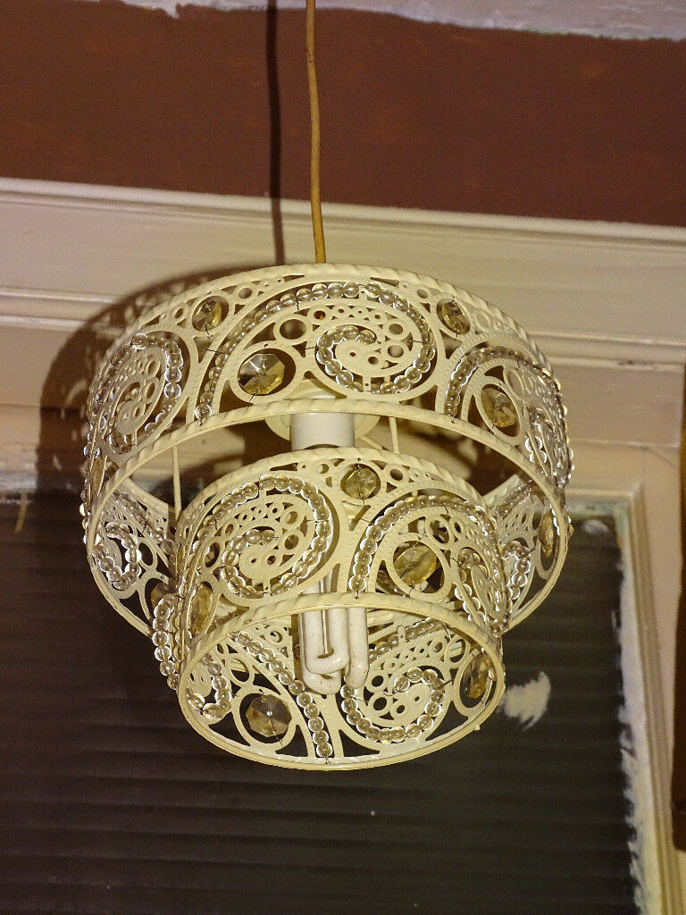 Two Tiered Lamp Shade Cream For Pendant Ceiling Light
