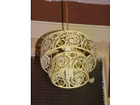 Two-tiered lamp shade, cream, for pendant ceiling light
