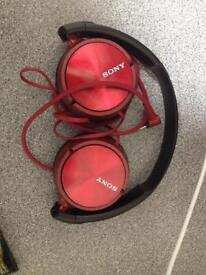 Red Sony headphones