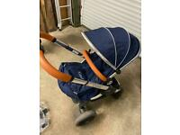 Icandy peach 3 pram, navy and tan