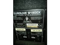 EUROLIVE B1800X HIGH POWER 18 INCH PA SUBWOOFER SPEAKERS