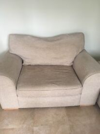 Next beige sofas, one is a two seater and the other a love seat.