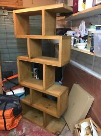 Solid oak display unit