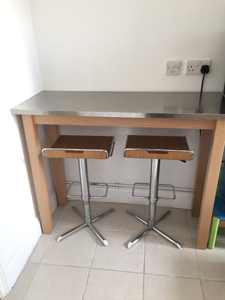 John Lewis Stainless Steel Breakfast Bar With 2 Matching Stools