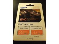 ( Sealed twin pack ) 2 x Samsung 32 GB Evo SDHC Class 10 SD Card - *NORMAL*size SD (up to 48 MB/s)