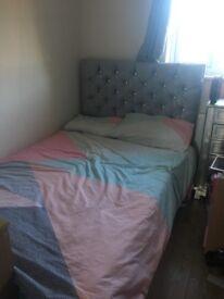 Small velvet double bed