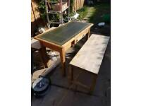 Old pine. Table / desk and benches