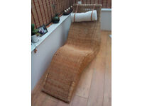 Ikea chaise longue, rattan lounger, wicker chair