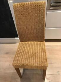 Wicker High Back Dining Chairs x 3