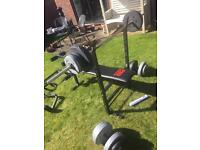 Weights bench, weights and pull up bar
