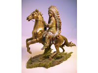 Collectable Native American Indian Chief Sitting Bull On Horse VGC (WH_0919)