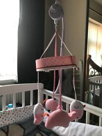 Pink elephant baby cot mobile