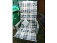 OUTDOOR HIGH BACK CHAIR BACK /SEAT PAD CUSHION X 2 GREEN/CREAM/BEIGE CHECKED NEW