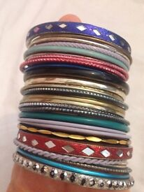 Stack of colourful bangles