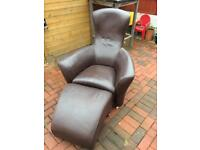 Leather chair recliner easy foot stool designer contemporary furnitures