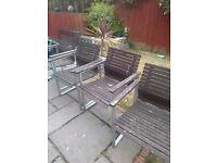4 x garden chairs wood and aluminium