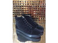 CHRISTIAN LOUBOUTIN Louis Spiked Leather High-Top Trainers - Suede Black - Fully boxed