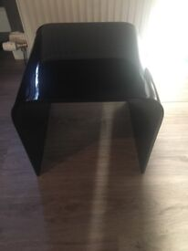 Solid black glass coffee and two side tables