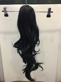 Long Jet Black Wavy Ponytail Clip-In
