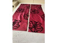Pair of Red and Black Roman Blinds 18x53 inches