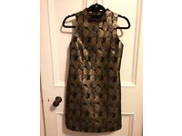 60s-look brocade dress, black and gold