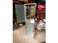 Chrome bathroom storage cabinet, click to close doors
