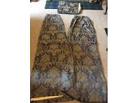 Jacquard Damask Slate Blue & Silvery Grey Lined curtains