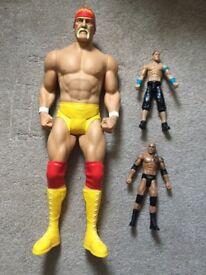 Large WWE Wrestling Figures - Hulk Hogan, John Cena & The Rock