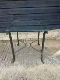 vintage metal glass top side table