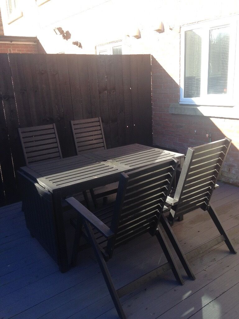 Ikea Wood Garden Patio Set Extendable Drop Leaf Table With  # Meuble Tv Kaorka Ikea