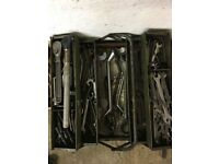 Spanners/Ratchets/Sockets - Large assortment in tool box (Estate Sale)