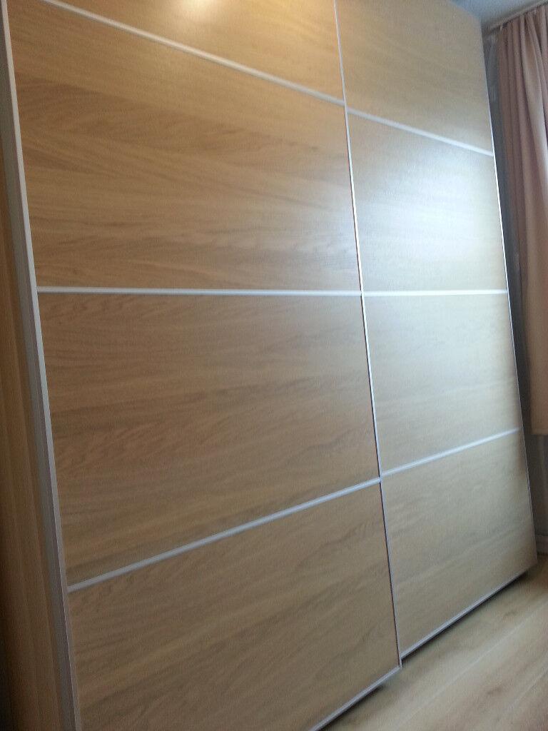 best sneakers eba0f 50579 IKEA PAX sliding door wardrobe 200x236x66 (2x100x236x60+ILSENG). White Oak.  | in Fairfield, Merseyside | Gumtree