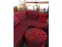 Beautiful red corner Suite plus footstool sold