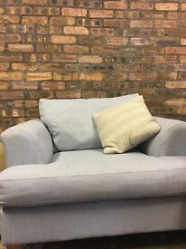 DFS pale blue sofa and armchair