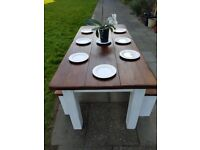 XL chunky rustic farmhouse white family dining table with 2 benches. LOCAL DELIVERY