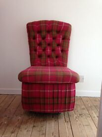 Chair in hot pink tartan - very kirky, one-off item.