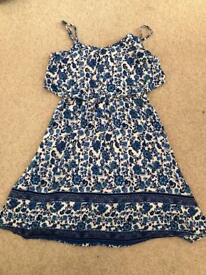 H & M Blue floral summer dress size 8