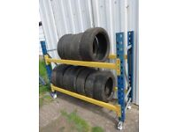 WHEELED TYRE STORAGE RACK RACKING BRITISH MADE HEAVY DUTY. 5ft8in LONG x 4ft7in HIGH (173cm x 140cm)