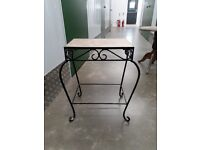 Small Marble Top Table on Wrought Iron Frame