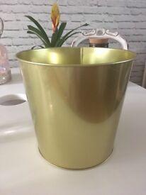 Metal Planter and glass Vase